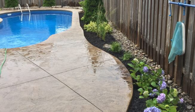 Landscaping, pool landscaping, concrete patio