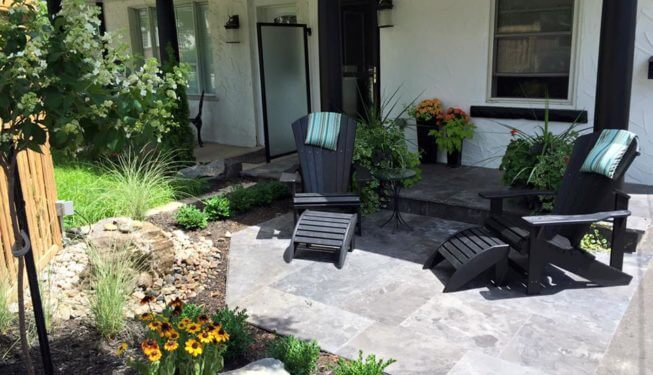 front yard landscaping, interlocking, patios